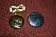 Lot Of 2 Vintage Picture Lockets/brooch 1 Gold Plated 1 Silver Plated