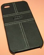 Mobo Leather Covered Hard Shell Case For Apple Iphone 4/4s, Black, New In Pkg