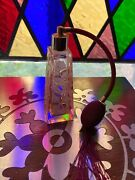 Hand Cut Crystal Etch Leaf Design I.w. Rice And Co. Pink Perfume Atomizer Japan