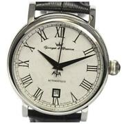 Yonger And Bresson Date Ybh8567-02 Automatic Men Ss Leather White Dial [e0402]