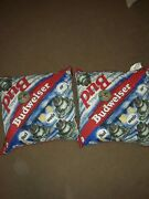 2 Vintage 1990s Budweiser Frog Pillows Bud Throw Couch Original Rare 90s