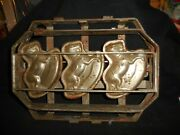 Antique Metal Hinged Chocolate Mold 3 Rocking Horses 12 X 10 X 3 8 Pounds
