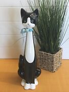 Mid Century Rosenthal Netter Cat Figurine Black And White W/bow 202-130 13 Tall