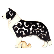 Border Collie Dog Wood Figurine Unique Gift Hand-painted