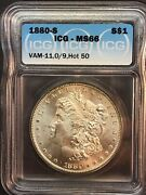 1880 S Icg Ms66 Vam 11, 0/9, Hot 50 Morgan Silver Dollar With Supurb Luster