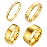 18k Gold Simple Bands Titanium Steel Men Womenand039s Engagement Party Ring Size 3-15