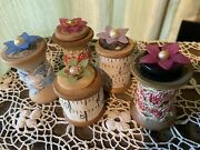 Vintage Sewing Spools Decorated For Display With Antique Jewelry Lace Set 5