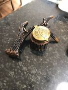 Vintage Unique Deer Antler Inkwell And Stand Brass Hinged Top Fountain Pen Holder