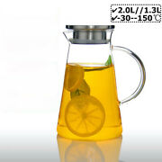 Clear Glass Pitcher Jug Carafe With Lid And Spout For Cold/hot Water Ice Tea