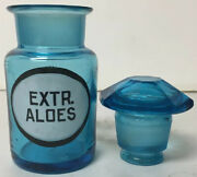 Early Apothecary Drugstore Label Blue Aloes Glass Bottle Jar Faceted Stopper