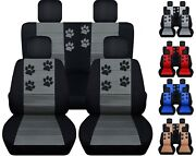 Front And Rear Car Seat Covers Fits Jeep Wrangler Jk 2007-2017 Paw Prints