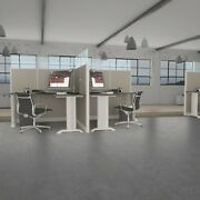 5x5 Cubicles- 66andprimeh -2 Man/person Back-to-back Fabric And Glass Workstations-e