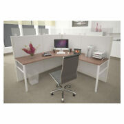 5x5 Cubicle - 63″ H- 1 Man/person L Shape Fabric And Glass Office Cubicle - E