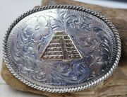 New Old Stock Sterling Silver Western Belt Buckle Pyramid Gold Inlay