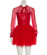 Valentino Leather Lace Tulle Long Sleeve Short Red Runway Dress 40 Italy Party