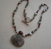 Sterling Silver Garnet Abalone Shell Glass Bead Necklace  282810