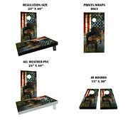 Hunting Dog With American Flag Themed Custom Cornhole Boards Variations