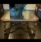 Ethan Allen Coffee Cocktail Table Royal Charter Oak Collection W/ Glass Top