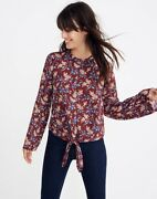 Madewell Bell-sleeve Tie Top In Antique Flora Cropped Size Xs