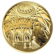 2001 Canada 100 Library Of Parliament 14k 1/4oz Proof Gold Coin Coa Case And Box
