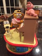 1980 Rare Garfield And Odie Music Box Player Piano Plays The Entertainer Exc Works