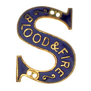 Early Salvation Army Blood And Fire Lapel Pin Badge Blue + Gold Enamel