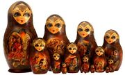Unique Large Matrioshka Nesting Dolls Hand Panted 15pc Fairy Tales Collectible