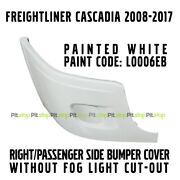 Freightliner Cascadia Bumper Cover Painted White Right Without Fog Light Hole