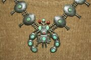 Hopi Sterling Silver Kachina Squash Necklace Carico Turquoise Red Coral