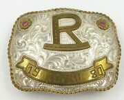 Sterling Silver And Gold Tone Western Rodeo Belt Buckle Alan Hykes With Rubies