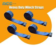 4 Pack 4 X 30and039 Winch Strap W/ Flat Hook Flatbed Truck Trailer Tie Down Straps