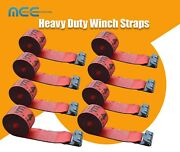 8 Pack 4 X 30and039 Winch Straps W/ Flat Hooks Flatbed Truck Trailer Tie Down Straps