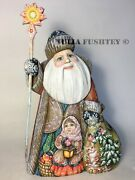 Russian Christmas Santa Father Frost With Girl Wooden Collectible Carved Figure