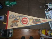 Vintage Chicago Cubs Wrigley Field Baseball Full Size Pennant Flag