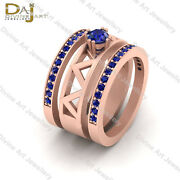 Solitaire Blue Sapphire Bridal Engagement Ring Set Wedding Ring Trio Set Jewelry