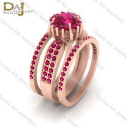 Bridal Engagement Ring Band Set Pink Ruby Halo Wedding Ring Set Womens Jewelry
