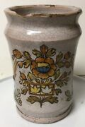 Early Antique Hand Painted Pottery Faience Apothecary Medicine Jar Birds Flowers