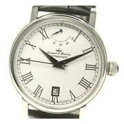 Yonger And Bresson Power Reserve Ybh8568-02 At Men Unused Ss White Dial [e0420]