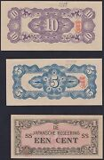 Netherlands Indies Set Of 3 Supposedly Pow Camp Money With Tan Chop, 1942