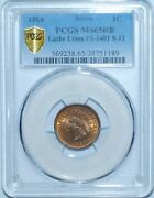 1864 Pcgs Ms65rb Red Brown Fs-1401 S-11 Lathe Lines Indian Cent Tied For Finest