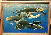Sea Life By Rockne Knuth And Hand Drawing Paper, Painting On Board, Wood Framed