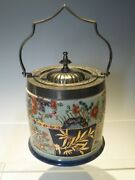 Imari And Gilt Decoration Ironstone Style Metal Mounted Biscuit Barrel