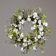 New Shabby Primitive Southern Farmhouse White Cotton Boll Green Leaves Wreath