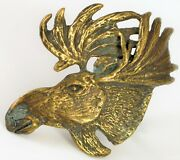Vintage Beautiful Detailed Brass Moose Belt Buckle New Hampshire Mountains