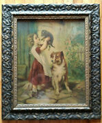 19th C Framed Victorian Print Lithograph Child Dog Puppy Wavy Glass Holmes Orig