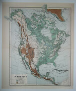 1901 Victorian Small Colour Physical Map Of North America New York Columbia