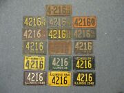 Group Illinois 1920s 1970s License Plate Tag All Same Number 46 Plates