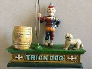 Vintage Cast Iron Mechanical Trick Dog Coin Bank With Clown