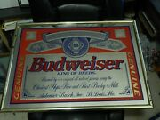 Budweiser King Of Beers [25''x18''] Beeco 1994 Bar_pub_tavern Mirror Sign