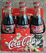 2002 Holiday Coke Coca-cola 6-pack W/cardboard Carrier Glass Bottles Metal Caps